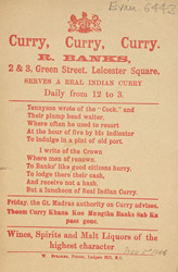 Advert for R Banks' curry restaurant